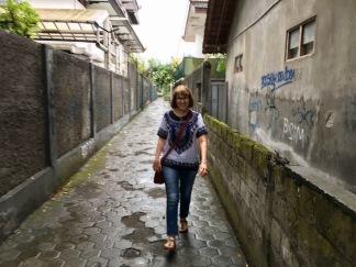 Walking in an alley in Yogya