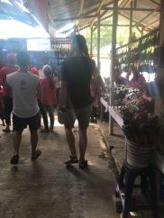 Walking through a market outside of Borobudor